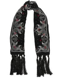 Alexander McQueen Tasseled Printed Silk Crepe De Chine Scarf