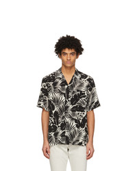 Saint Laurent Black And White Silk Tropical Shark Collar Short Sleeve Shirt