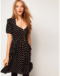 f73df3b74e Asos Skater Dress In Spot Print With Zip Front