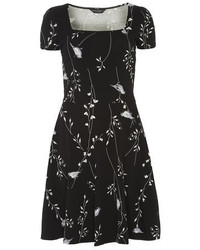 Dorothy perkins tall black bird skater dress medium 130048