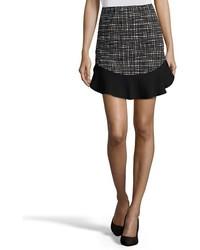 Wyatt Black And White Geometric Print Stretch Knit Mini Skirt