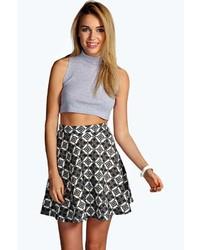 Boohoo Adalia Tile Print Crepe Skater Skirt