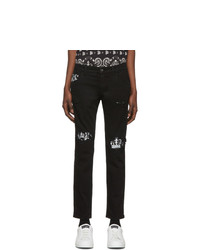 Dolce and Gabbana Black Bandana Print Skinny Jeans