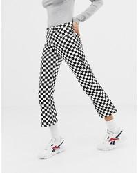ASOS DESIGN Egerton Rigid Cropped Flare Jeans In Mono Checkerboard Print