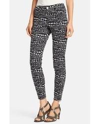 Stella McCartney Jessica Heart Print Skinny Ankle Zip Jeans Black Size 29 29