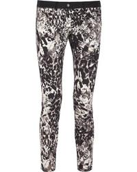 DKNY Animal Print Stretch Cotton Skinny Pants