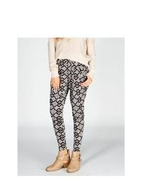 Full Tilt Ethnic Print Pleated Skinny Pants