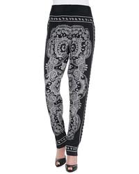 DKNY Paisley Print Pants Blackwhite
