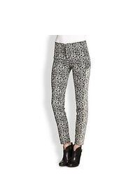 Parker Olsen Printed Skinny Pants Black Cream