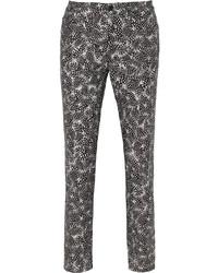 Oscar de la Renta Printed Stretch Cotton Skinny Pants