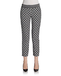 Saks fifth avenue black geometric tile skinny pants medium 77519