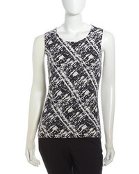 Crosshatch printed cashmere shell blackwhite medium 55687