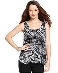 Sleeveless printed button front top medium 55686