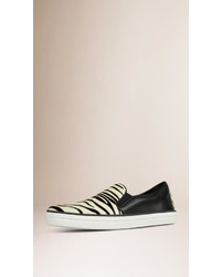 Burberry Animal Print Calfskin And Leather Trainers