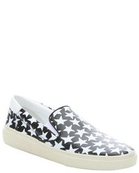 Black and white star print leather skate 20 slip on sneakers medium 451434