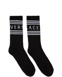 Versace Black 1990s Vintage Logo Socks