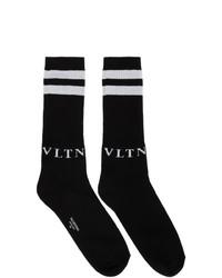 Valentino Black And Grey Garavani Vltn Socks