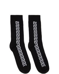 Versace Black And White Greca Socks