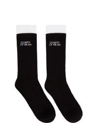 Marcelo Burlon County of Milan Black Double Cuff Logo Socks