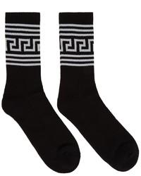 Versace Black Greca Socks
