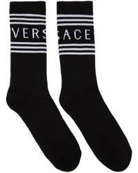 Versace Black White 1990s Logo Socks
