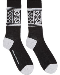 Black white fair isle socks medium 286855