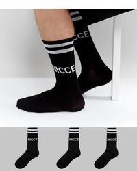 Nicce London Nicce Logo 3 Pack Sports Socks In Black