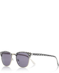 River Island Black Geometric Print Retro Sunglasses