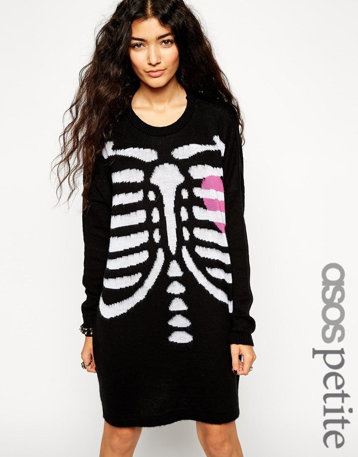 Asos Asos Petite Halloween Skeleton Sweater Dress Where To Buy