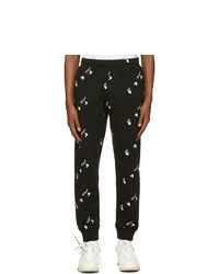 Off-White Black All Over Logo Cuffed Lounge Pants