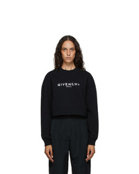 Givenchy Black Paris Logo Cropped Sweatshirt