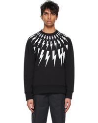 Neil Barrett Black White Fair Isle Thunderbolt Sweatshirt
