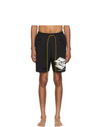 Black and White Print Swim Shorts