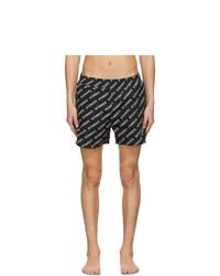 Vetements Black All Over Logo Swim Shorts