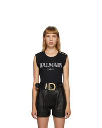 Balmain Black 3 Button Logo Tank Top
