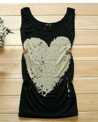 ChicNova Heart Graphic Print Round Neck Tank With Rivets