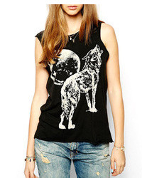 ChicNova Wolf Print Sleeveless Black Tank