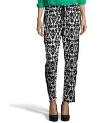 Black and white cropped printed drawstring pants medium 339441