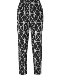 Jones printed cotton and silk blend tapered pants medium 339440