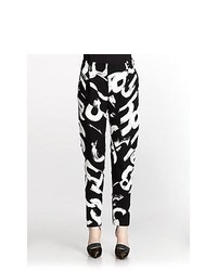Proenza Schouler Letter Print Spiral Cut Tapered Pants Black Text Print