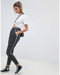 ASOS DESIGN Tapered Peg With Contrast Bind In Mono Floral Print