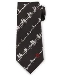 Alexander McQueen Barbed Wire Print Silk Tie Whiteblack