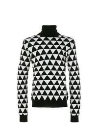 Black and White Print Turtleneck