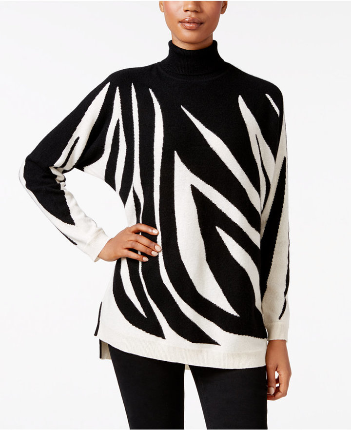 Charter Club Cashmere Zebra Print Turtleneck Sweater Only At Macys ...