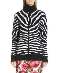 Michl kors intarsia zebra print cashmere sweater medium 8679368