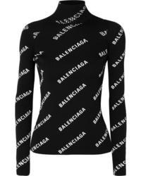 Balenciaga Open Back Printed Ribbed Knit Turtleneck Sweater