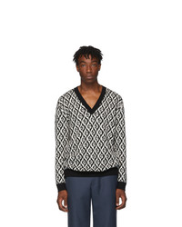Gucci Black And White G Rhombus V Neck Sweater