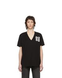 Dsquared2 Black Logo V Neck T Shirt