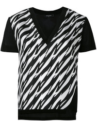 Dsquared2 Houndstooth Slit V Neck T Shirt