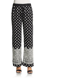 Printed Wide Leg Crepe Pants